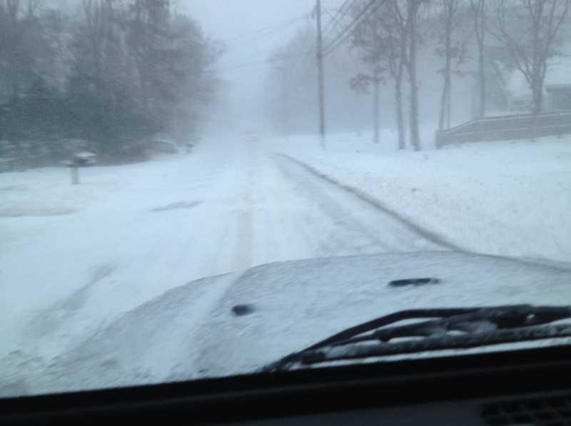Driving in South Sandwihch Road in Mashpee is still treacherous, though lots of plows are out. White out conditions ongoing in some places, particularly next to open areas.