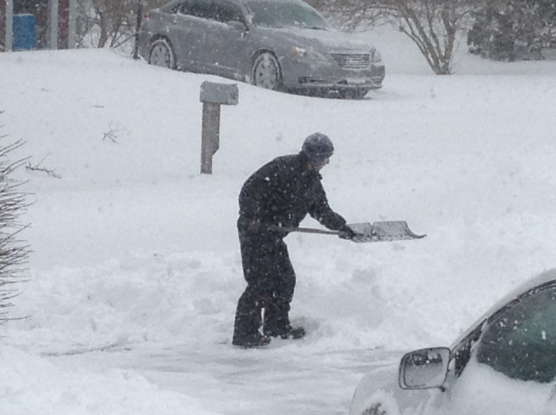 Digging out in Sagamore Beach, hot coffee waits inside.
