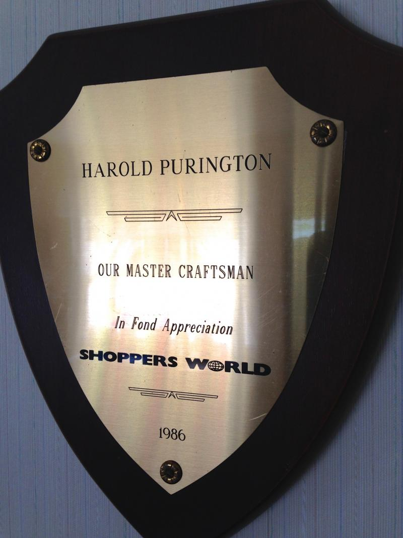 Hal's retirement plaque from Shopper's World