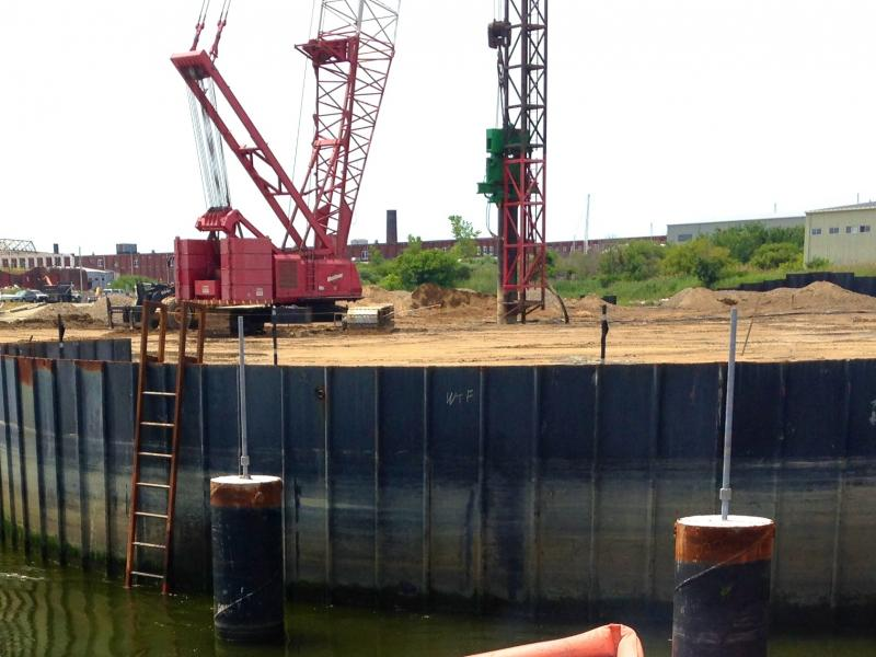 Close-up of cofferdam and crane