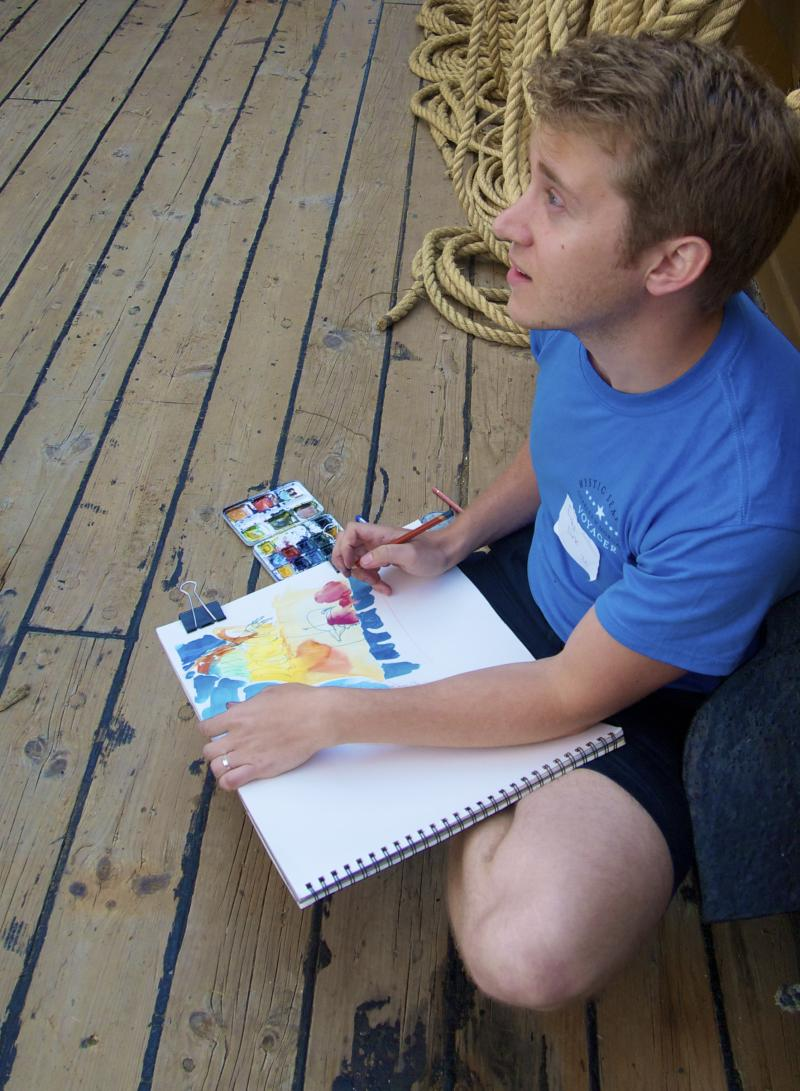 Artist paints and Sketchs on the ship
