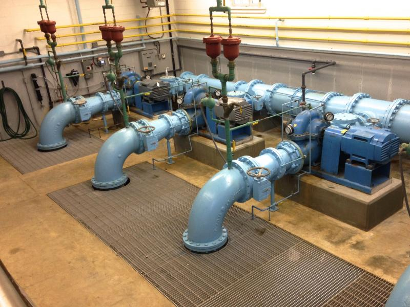 Water intake pipes at Long Pond chlorination facility