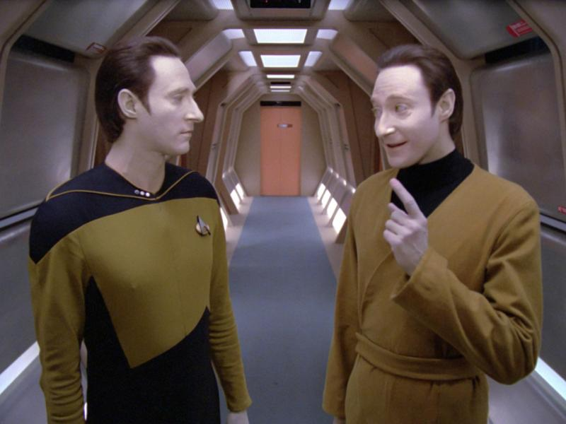 The Star Trek android, Data, and his emotionally unstable brother, Lore.