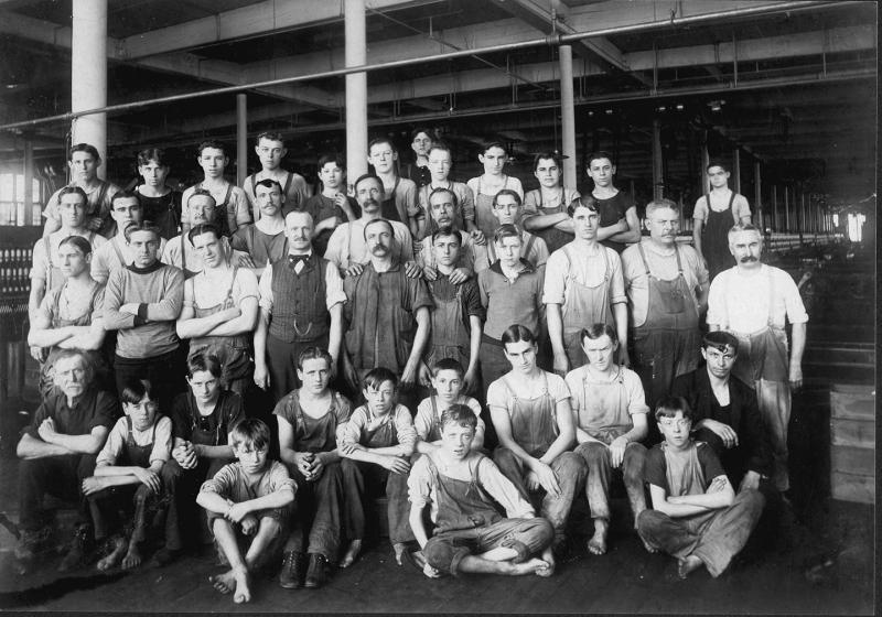Men worked in the mills, mostly to maintain the machinery; many children began to work in the mills as early as age 10