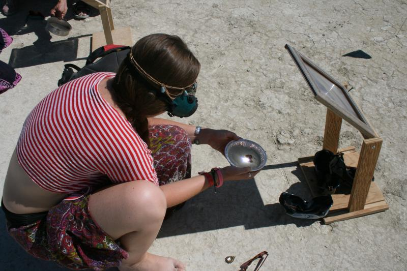 Using the sun & a lense Burners can melt Playa Dust into Glass.