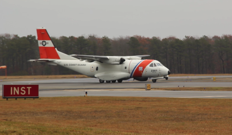The Coast Guard air sift takes off for points south.