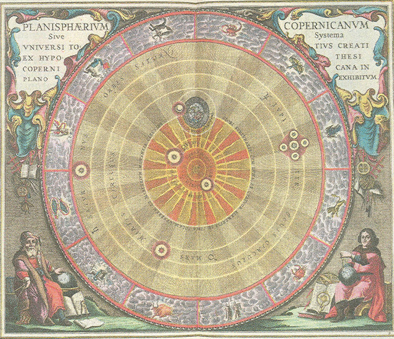 "Andreas Cellarius, illustration of the Copernican system, from the ""Harmonia Macrocosmica"" (1660)."