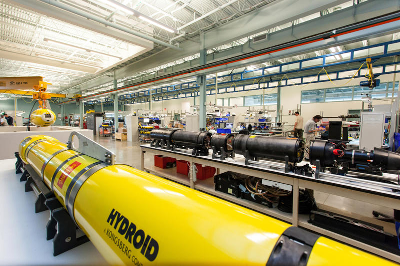 The manufacturing floor at Hydroid, a local company producing underwater robots in a 40,000 square foot facility.