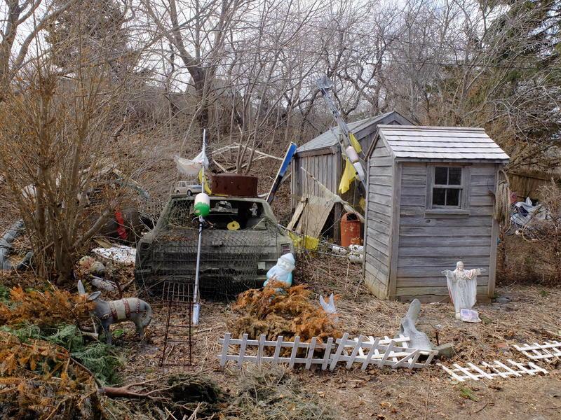Jay Critchley's backyard. April 2015. Provincetown