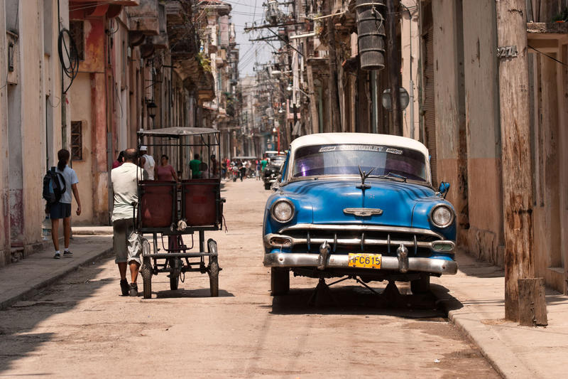 In Cuba, many cars date to the 1950's and are kept running by creative mechanics.