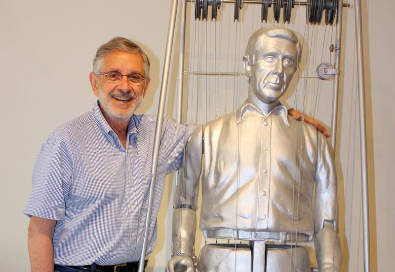 "Boston architect Richard Bertman and his clone-like sculpture ""First Attempts at a Bionic Man."" Bertman discovered his love for sculpting at the University of California at Berkley over 50 years ago."