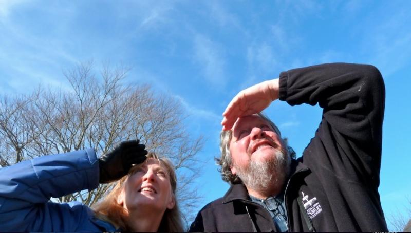 WCAI's Mindy Todd and Vern Laux keep their eyes to the sky. Laux passed away Thursday morning at Nantucket Cottage Hospital.
