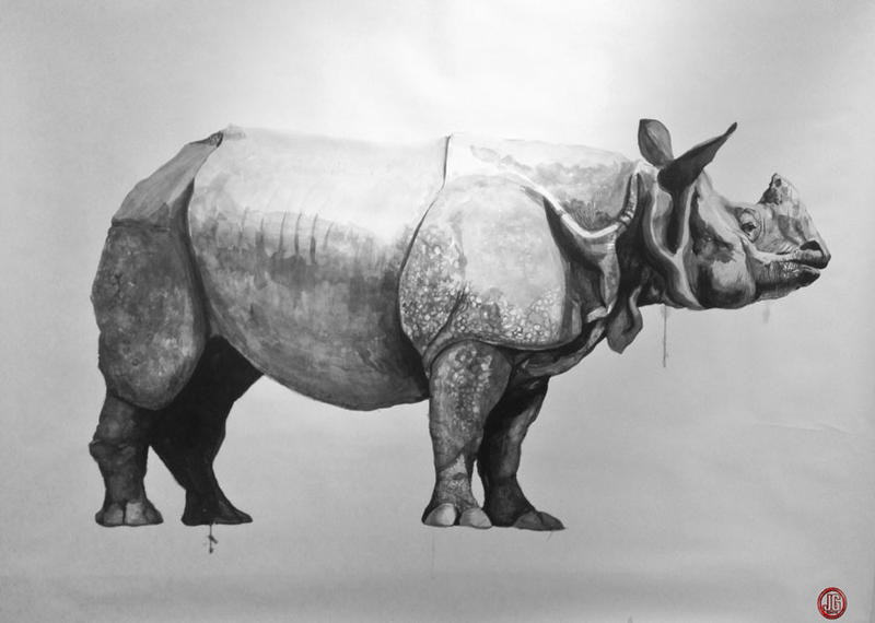 """Horny as a Rhinoceros"" - India ink portrait by Jon Goldman"