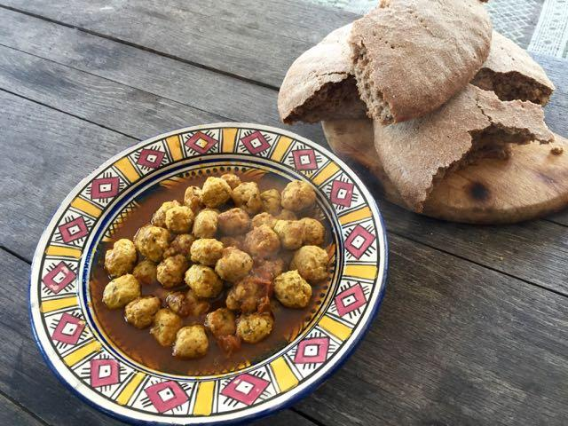 Moroccan Fish Ball Tagine (Querri) and No-Knead Whole Wheat Moroccan Bread. Look for local grains!
