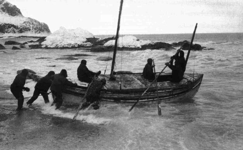 The launch of the James Caird from Elephant Island on April 24, 1916.