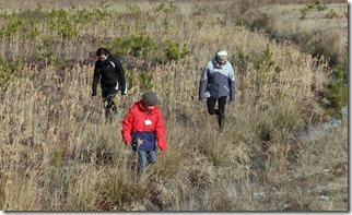 Nauset Lighthouse Charter School students search for coyote scat.