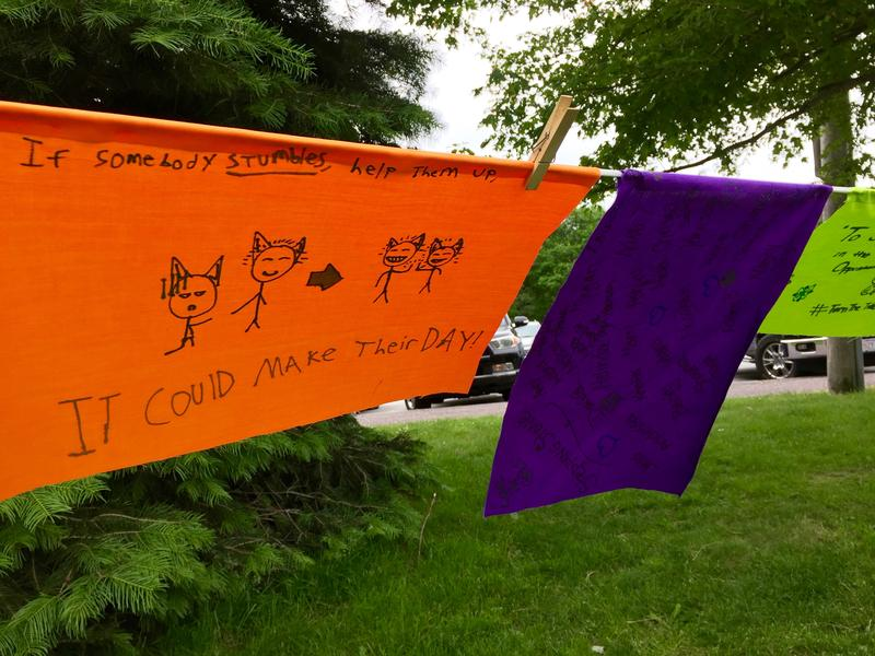 Several homemade banners about addiction were hung in Buttonwood Park
