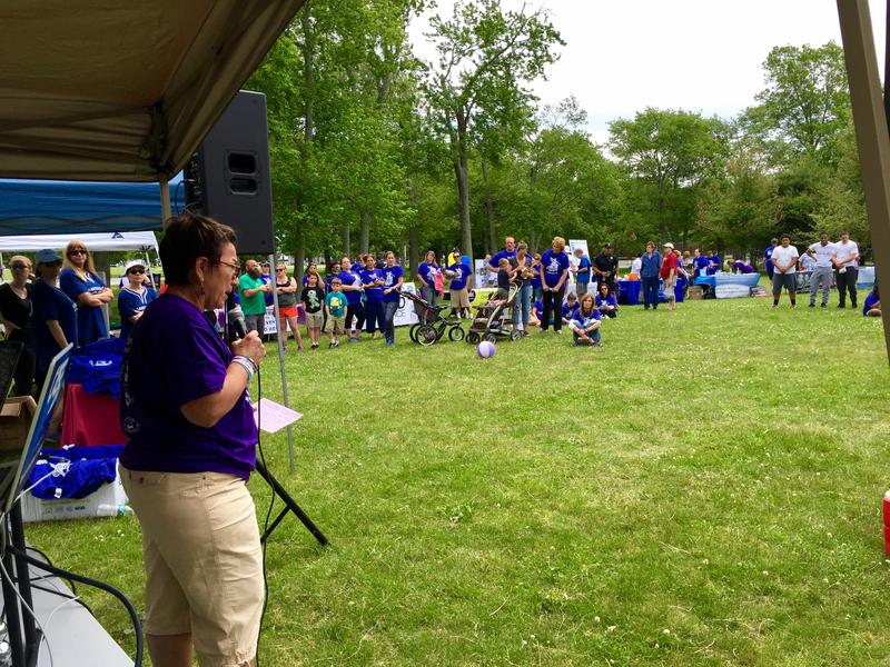 Joan Peters-Gilmartin, who lost her son to an overdose, addresses the crowd.