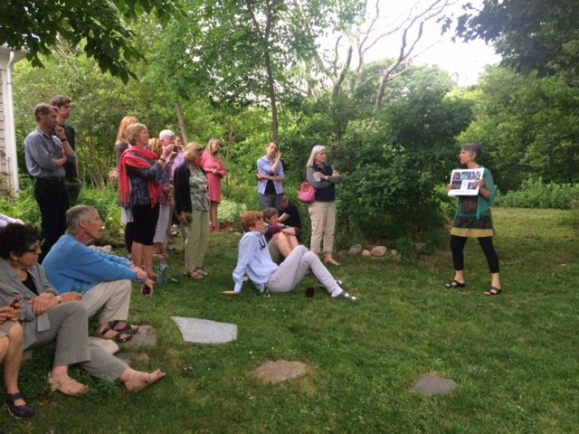 Shelley Silbert, executive director of Great Old Broads for Wilderness, speaks to a group gathered at Sargent Gallery on Martha's Vineyard.