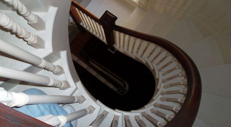 The Crosby Mansion's stately main stairwell will be decorated for the holidays this weekend.