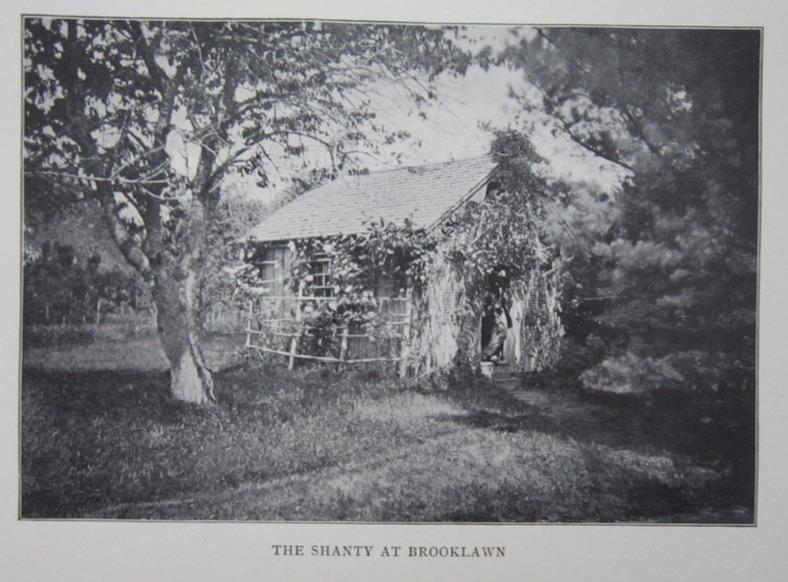 Image of the Shanty circa 1870, with Daniel Ricketson in the doorway.