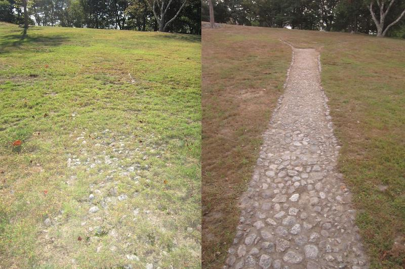 : The 'Ledge Path', before being excavated by Carl Simmons (left) and after (right).