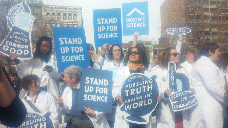 Speakers at the Stand Up For Science Rally in Boston's Copley Square.