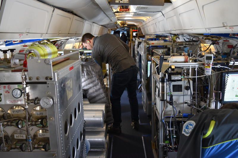 A DC8 packed with atmospheric sensors and samplers is making four laps around the globe.