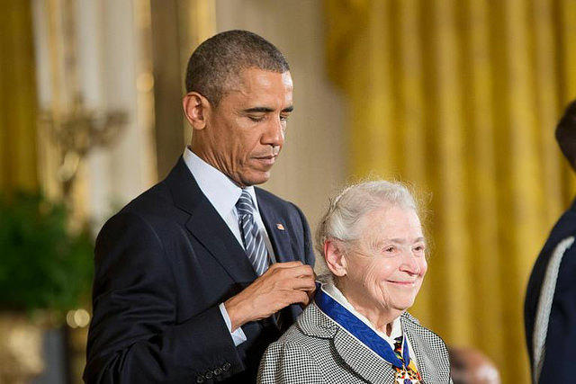 President Barack Obama awards MIT professor emeritus Mildred Dresselhaus, a world-renowned carbon physicist famous for her discovery of graphene.
