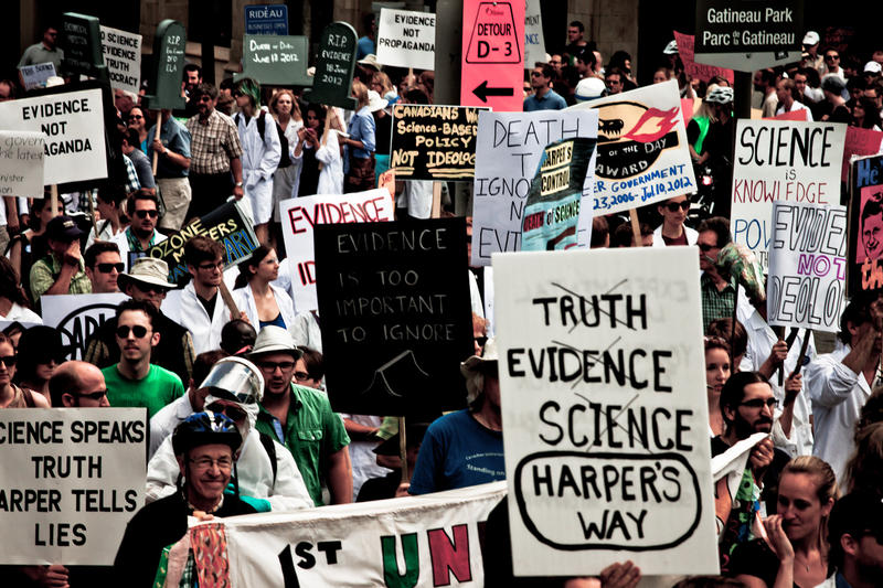 The Death of Evidence rally in July, 2012, included a mock funeral for scientific programs and practices that had been lost under the Harper administration.