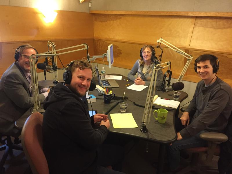 Will Crocker, Julian Cyr, and Dylan Fernandes in the studio with Mindy Todd
