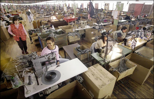 Textile workers at Michael Bianco Factory, March 2007