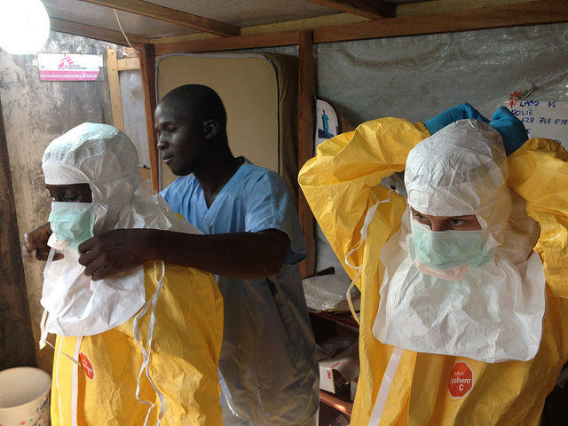 Healthcare workers during the West African Ebola oubreak.