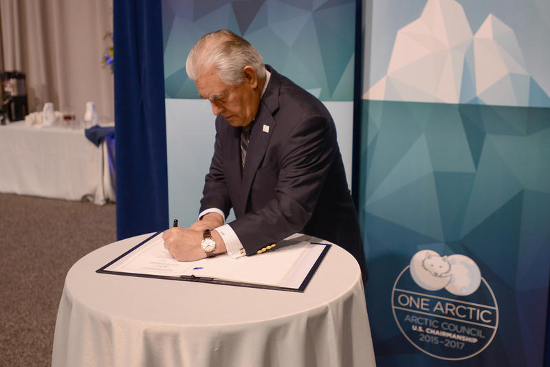 Secretary Tillerson Signs the Scientific Cooperation Agreement at the 10th Arctic Council Ministerial Meeting in Fairbanks, AK.