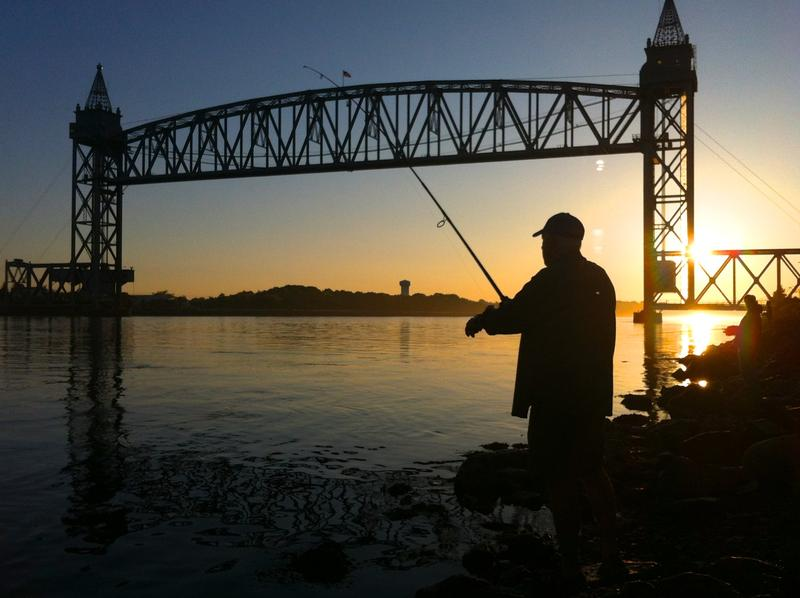 Fishing along the Cape Cod Canal at daybreak.