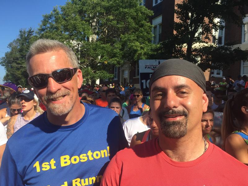 Randy Pierce (left), and David Easa, at the Woods Hole start of the Falmouth Road Race
