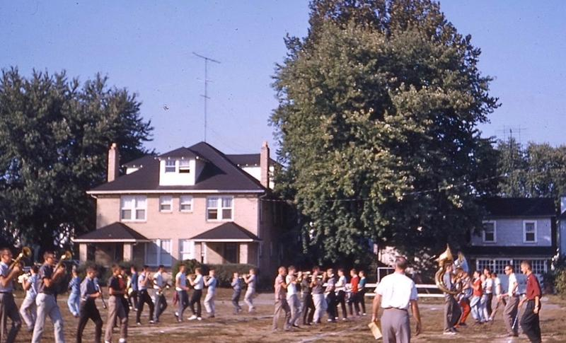 1959 drill practice of the Parkersburg, West Virginia, marching band.