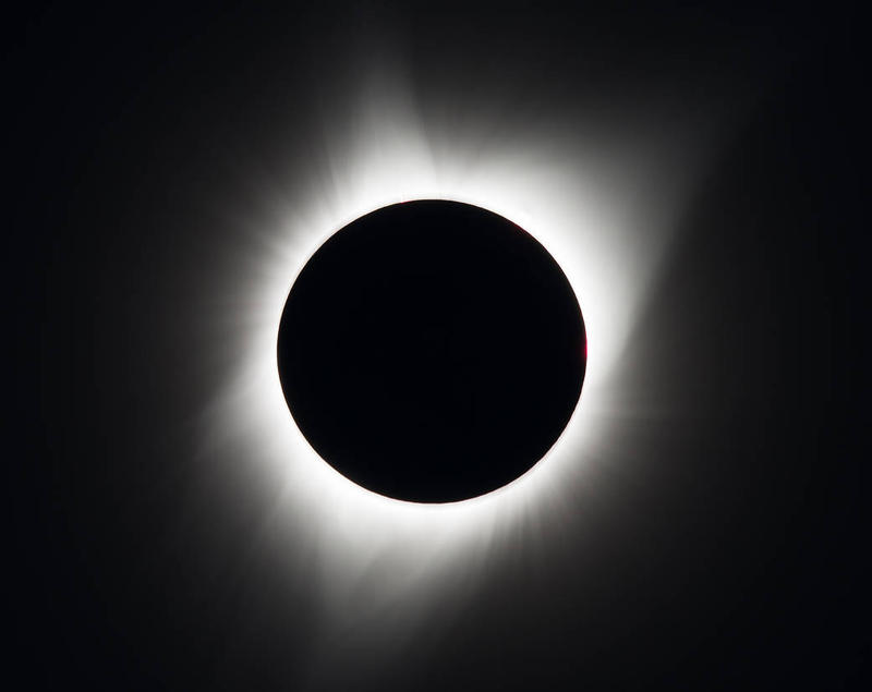 A total solar eclipse is seen on August 21, 2017 above Madras, Oregon.