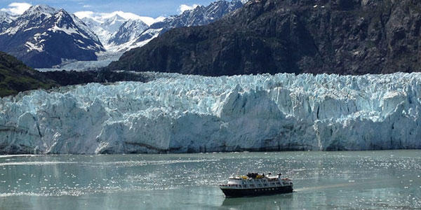 A cruise ship visits Glacier Bay National Park in Alaska.