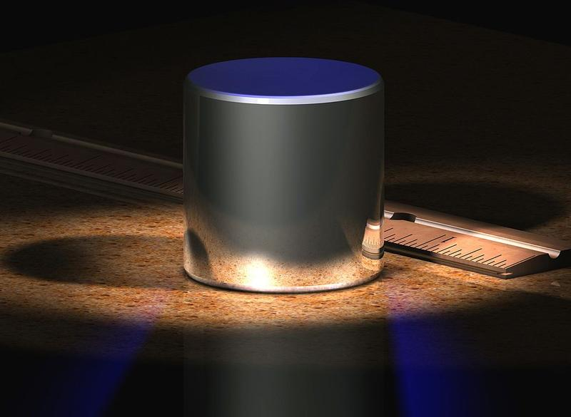 A computer-generated image of the international prototype kilogram. The General Conference on Weights and Measures could vote on a more modern standard for the kilogram.
