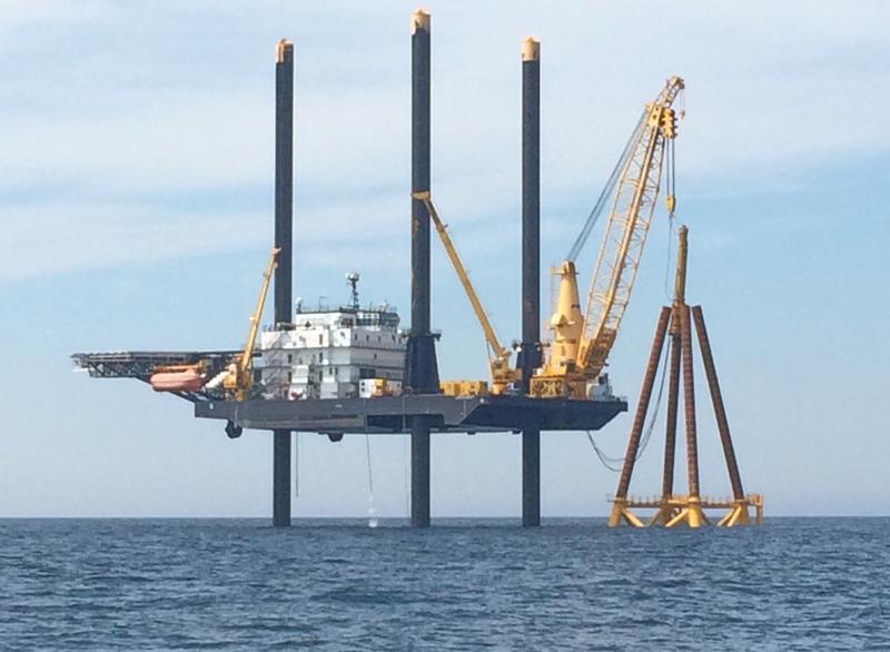 Wind turbine construction (Block Island)
