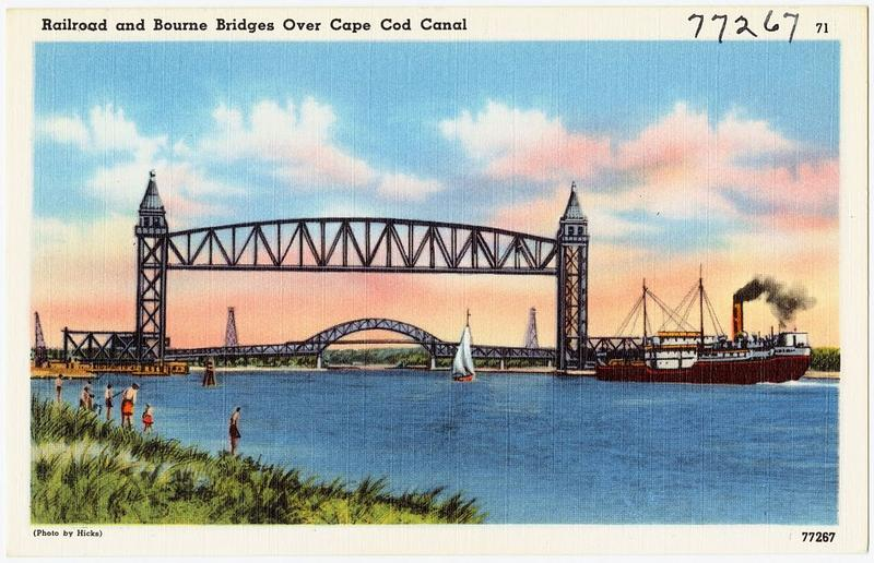 Old Postcard of Railroad and Bourne Bridges over Cape Cad Canal