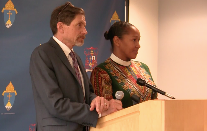 Phil Duffy of Woods Hole Research Center and the Reverend Mariama White-Hammond at the press conference announcing a joint science-faith call to climate action.