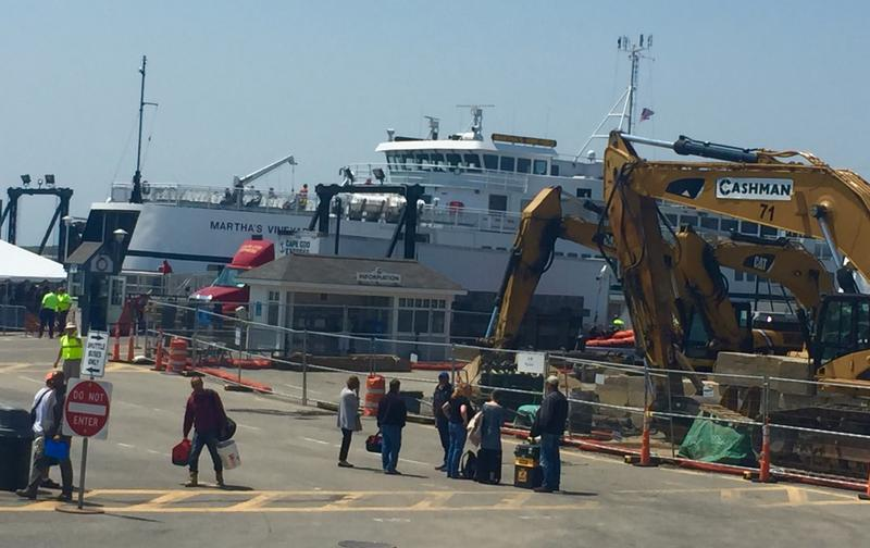 Construction and congestion at the Steamship Authority terminal in Woods Hole