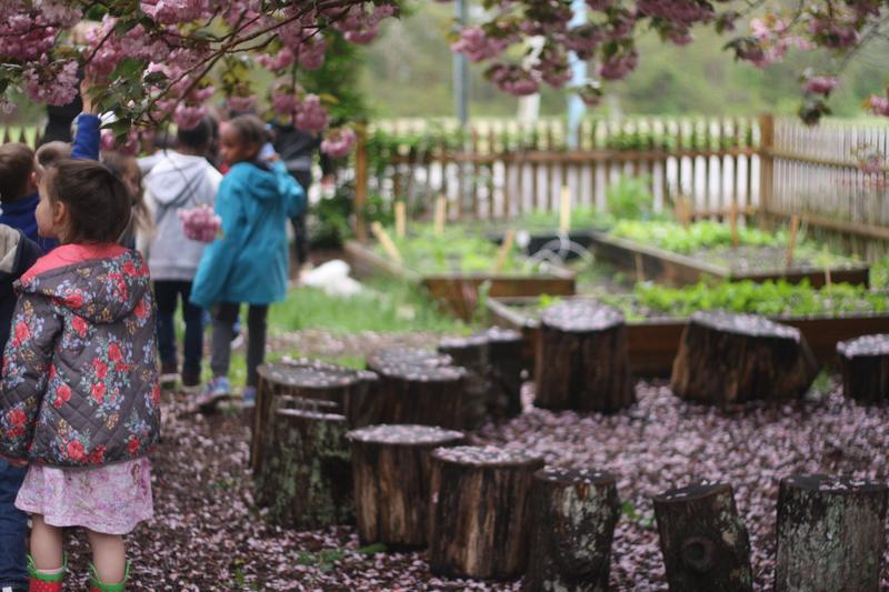 A sitting area at the Hyannis West School Garden