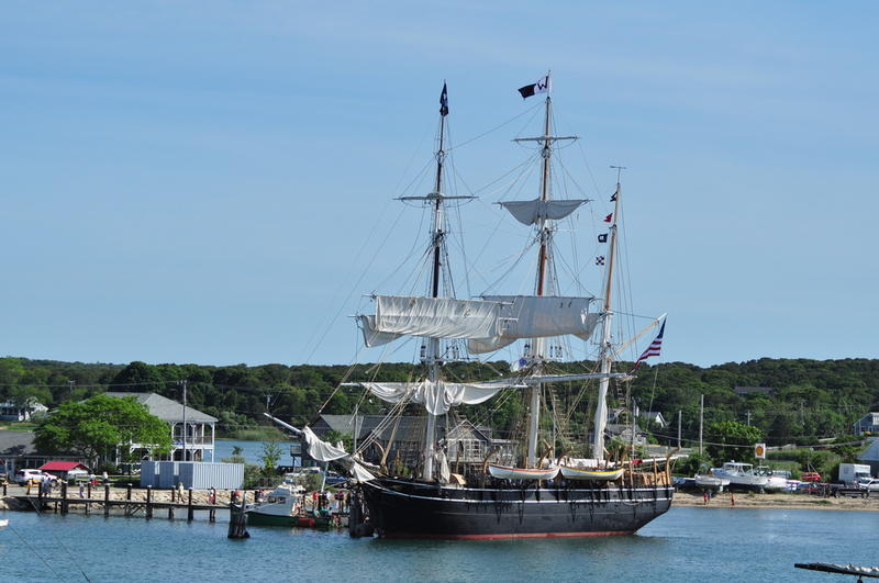 The historic whaling ship Charles W. Morgan during a 2014 visit to Vineyard Haven.
