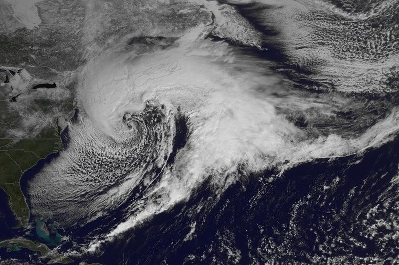 Satellite imagery of a storm over New England (03/14)