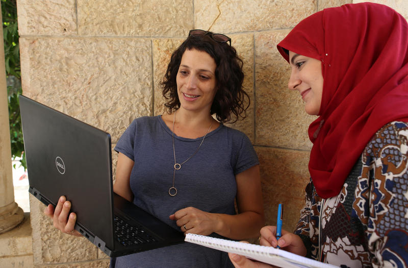 As part of the program, Israeli & Palestinian students are put in working pairs. Through their work, they become good friends.