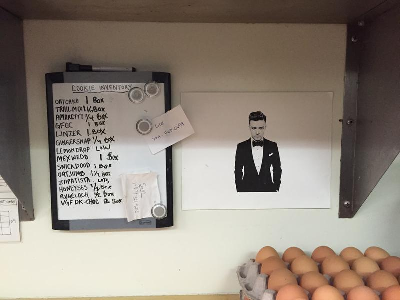 In the kitchen. The baker's cookie inventory with eggs and Justin Timberlake.