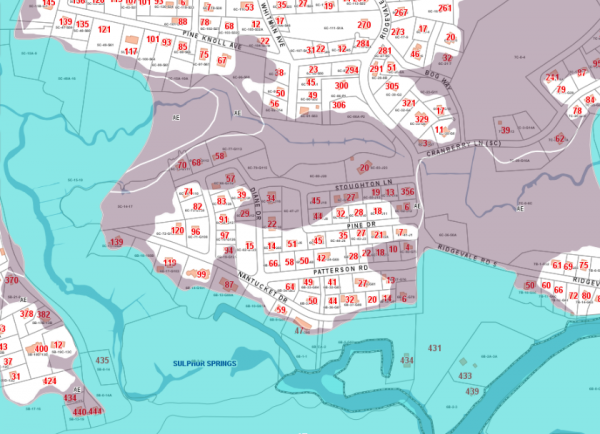 Portion of 2013 FEMA flood map for Chatham. Shaded area shows homes newly included in flood zone.